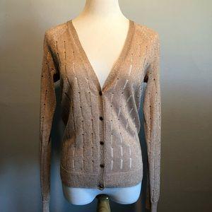 EUC- Gap Pink Metallic Cardigan Sweater Top- Sz M
